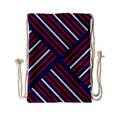 Geometric Background Stripes Red White Drawstring Bag (Small)