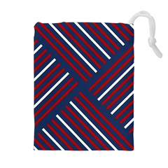 Geometric Background Stripes Red White Drawstring Pouches (Extra Large)