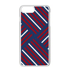 Geometric Background Stripes Red White Apple iPhone 7 Plus White Seamless Case