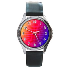 Grid Diamonds Figure Abstract Round Metal Watch