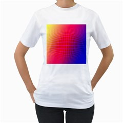 Grid Diamonds Figure Abstract Women s T-Shirt (White) (Two Sided)