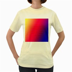 Grid Diamonds Figure Abstract Women s Yellow T-Shirt
