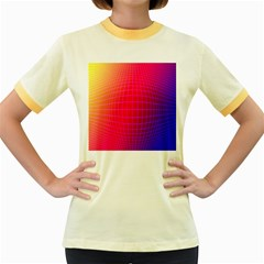 Grid Diamonds Figure Abstract Women s Fitted Ringer T-Shirts