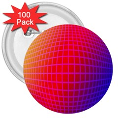 Grid Diamonds Figure Abstract 3  Buttons (100 pack)