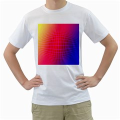 Grid Diamonds Figure Abstract Men s T-Shirt (White) (Two Sided)