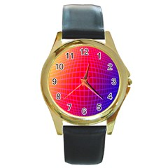 Grid Diamonds Figure Abstract Round Gold Metal Watch