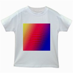 Grid Diamonds Figure Abstract Kids White T-Shirts