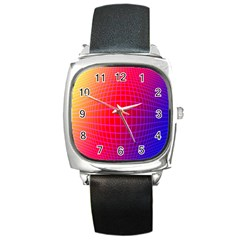 Grid Diamonds Figure Abstract Square Metal Watch