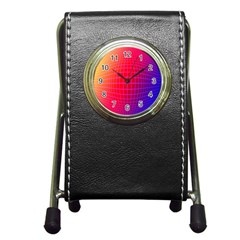 Grid Diamonds Figure Abstract Pen Holder Desk Clocks