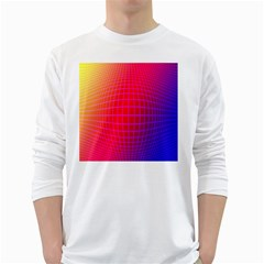 Grid Diamonds Figure Abstract White Long Sleeve T-Shirts