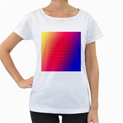 Grid Diamonds Figure Abstract Women s Loose-Fit T-Shirt (White)