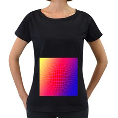 Grid Diamonds Figure Abstract Women s Loose-Fit T-Shirt (Black)