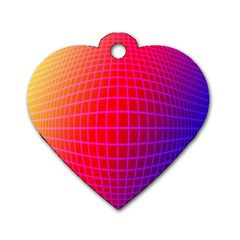Grid Diamonds Figure Abstract Dog Tag Heart (Two Sides)