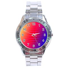 Grid Diamonds Figure Abstract Stainless Steel Analogue Watch