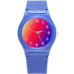 Grid Diamonds Figure Abstract Round Plastic Sport Watch (S)