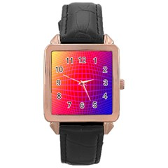 Grid Diamonds Figure Abstract Rose Gold Leather Watch