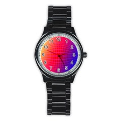 Grid Diamonds Figure Abstract Stainless Steel Round Watch