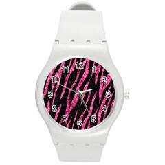 SKN3 BK-PK MARBLE Round Plastic Sport Watch (M)