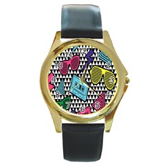Glasses Cassette Round Gold Metal Watch