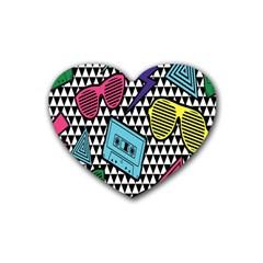 Glasses Cassette Rubber Coaster (Heart)
