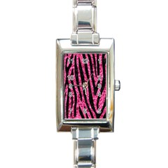 SKN4 BK-PK MARBLE Rectangle Italian Charm Watch