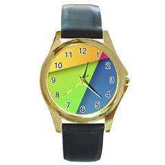 Lock Screen Round Gold Metal Watch