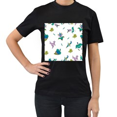 Leaf Women s T-Shirt (Black) (Two Sided)