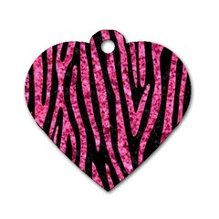 SKN4 BK-PK MARBLE (R) Dog Tag Heart (Two Sides)