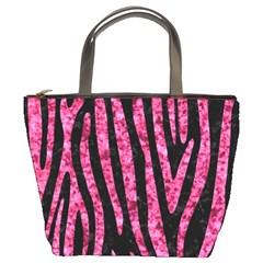 Skin4 Black Marble & Pink Marble (r) Bucket Bag