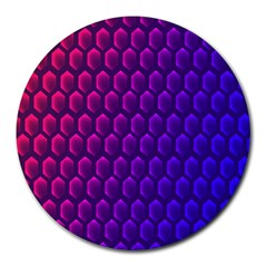 Outstanding Hexagon Blue Purple Round Mousepads