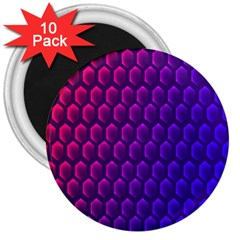 Outstanding Hexagon Blue Purple 3  Magnets (10 pack)