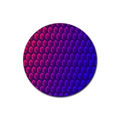 Outstanding Hexagon Blue Purple Rubber Coaster (Round)