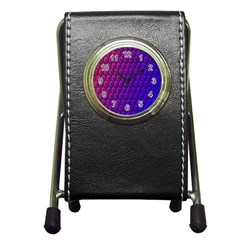 Outstanding Hexagon Blue Purple Pen Holder Desk Clocks