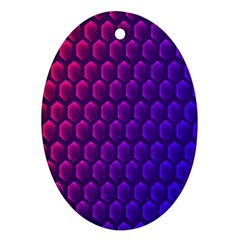 Outstanding Hexagon Blue Purple Oval Ornament (Two Sides)