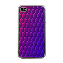 Outstanding Hexagon Blue Purple Apple iPhone 4 Case (Clear)