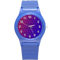 Outstanding Hexagon Blue Purple Round Plastic Sport Watch (S)