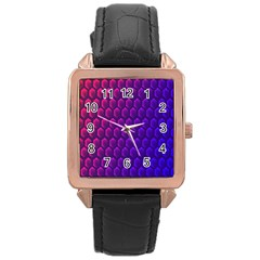 Outstanding Hexagon Blue Purple Rose Gold Leather Watch