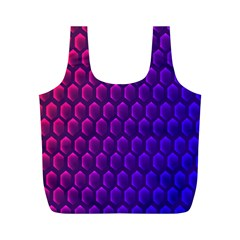 Outstanding Hexagon Blue Purple Full Print Recycle Bags (M)