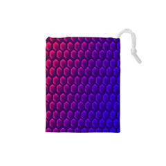 Outstanding Hexagon Blue Purple Drawstring Pouches (Small)