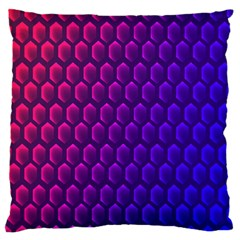 Outstanding Hexagon Blue Purple Large Flano Cushion Case (Two Sides)