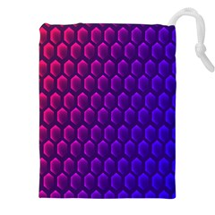 Outstanding Hexagon Blue Purple Drawstring Pouches (XXL)