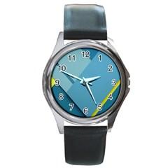 New Bok Blue Round Metal Watch