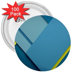 New Bok Blue 3  Buttons (100 pack)