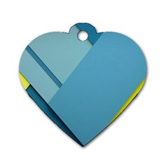 New Bok Blue Dog Tag Heart (One Side)