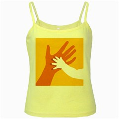 Hand Mom Soon Cute Mains Copy Yellow Spaghetti Tank