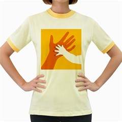 Hand Mom Soon Cute Mains Copy Women s Fitted Ringer T-Shirts