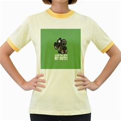 Pet Squirrel Green Nuts Women s Fitted Ringer T-Shirts