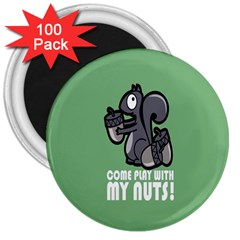 Pet Squirrel Green Nuts 3  Magnets (100 pack)