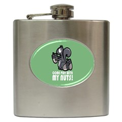 Pet Squirrel Green Nuts Hip Flask (6 oz)