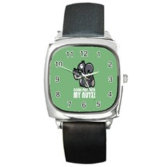 Pet Squirrel Green Nuts Square Metal Watch